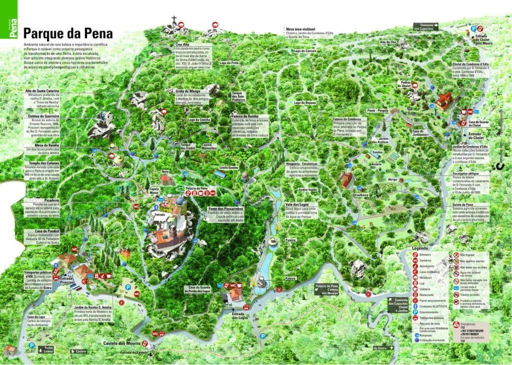 Mapa del Parque da Pena, un lugar para perderte en él, Sintra - Los viajes de Margalliver